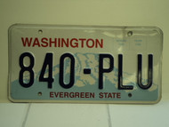 WASHINGTON Evergreen State License Plate 840 PLU