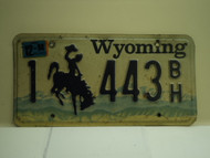 1998 Wyoming License Plate 1 443 BH
