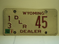 1993 WYOMING Dealer License Plate  13 45