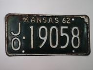 1962 KANSAS License Plate JO 19058