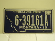 2010 2012 MONTANA Treasure State License Plate 6 39161A