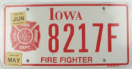 2007 May Jun Iowa License Plate Firefighter 8217F