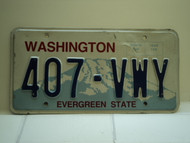 Washington Evergreen State License Plate 407 VWY