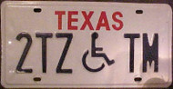 Texas 2TZTM Wheelchair Handicapped License Plate