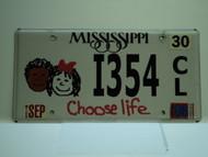 2006 MISSISSIPPI Choose Life License Plate I354 CL