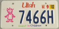 2002 Utah Invest In Children License Plate 7466H