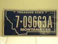 2010 MONTANA Treasure State License Plate 7 09663A