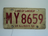 1966 ILLINOIS Land of Lincoln License Plate MY8659