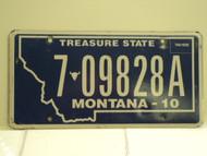 2010 MONTANA Treasure State License Plate 6 09828A