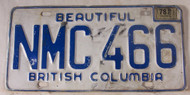 1978 British Columbia License Plate NMC 466