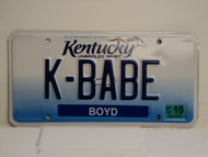 2012 KENTUCKY Unbridled Spirit VANITY License Plate K BABE