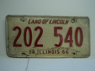 1966 ILLINOIS Land of Lincoln License Plate 202 540