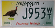 Mississippi Turkey J953 WT License Plate