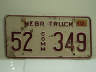 2002 NEBRASKA Commercial Truck License Plate 52 349 1
