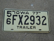 1977 IOWA Trailer License Plate 56 FX2932