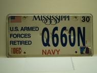 MISSISSIPPI US NAVY Retired License Plate Q660N