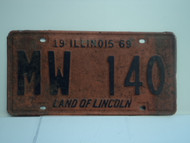 1969 ILLINOIS Land of Lincoln License Plate MW 140