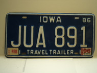1986 1996 IOWA Travel Trailer License Plate JUA 891