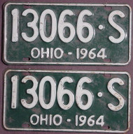 PAIR 1964 Ohio License Plates 130665