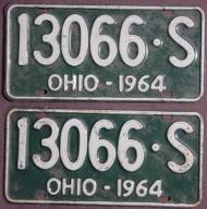PAIR 1964 Ohio License Plates 130665