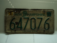 1999 NEW HAMPSHIRE Live Free or Die License Plate 647076