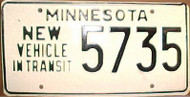 1980's Minnesota New Vehicle In Transit License Plate 5735