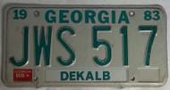 1983 1985 Georgia JWS 517 License Plate