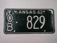 1962 KANSAS License Plate OB 829