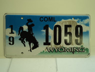 WYOMING Bucking Bronco Devils Tower Commercial License Plate 19 1059 1