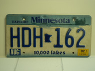 2002 MINNESOTA Explore 10,000 Lakes License Plate HDH 162
