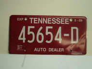 2007 TENNESSEE Auto Dealer License Plate 45654 D
