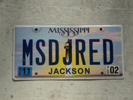 2011 MISSISSIPI Vanity License Plate MSDJRED