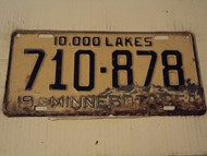 1954 MINNESOTA 10,000 Lakes License Plate 710-878