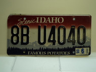 2008 IDAHO Famous Potatoes License Plate 8B U4040
