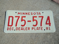 1981 MINNESOTA Dealer License Plate D75 574