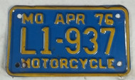 1976 Apr Missouri Motorcycle License Plate L1-937 DMV CLEAR