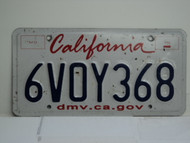 CALIFORNIA Lipstick License Plate 6VOY368