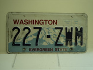 WASHINGTON Evergreen State License Plate 227 ZWM