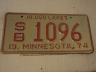 1974 MINNESOTA 10,000 Lakes License Plate SB-1096