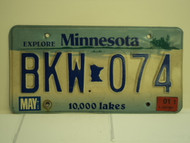 2001 MINNESOTA Explore 10,000 Lakes License Plate BKW 074