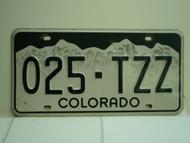 COLORADO License Plate 025 TZZ