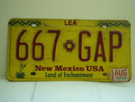 1998 NEW MEXICO Land Of Enchantment License Plate 667 GAP