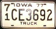 1977 Iowa 71 O'Brien Co Truck License Plate