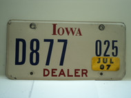 2007 IOWA Dealer License Plate  D877 025