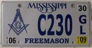 2009 Jun Mississippi Free Mason License Plate