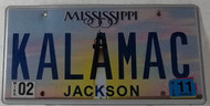2011 Feb Mississippi Vanity License Plate KALAMAC