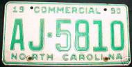 1990 North Carolina AJ-5810 Comm'l License Plate