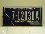 2010 MONTANA Treasure State License Plate 7 12030A