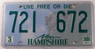 2000 March New Hampshire 721 672 License Plate