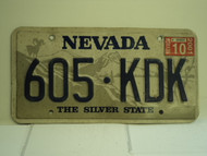 2001 NEVADA Silver State License Plate 605 KDK